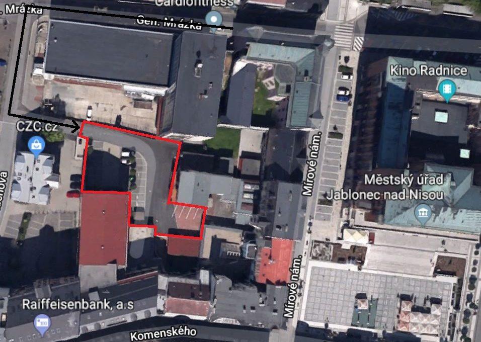Parkovací místa HP - satelitní fotka